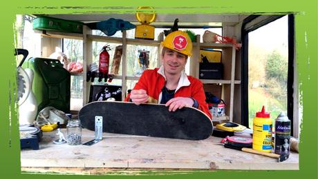 Skateboard-boekenplank