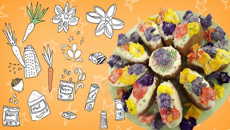 Carrotcake met gesuikerde Bloemen